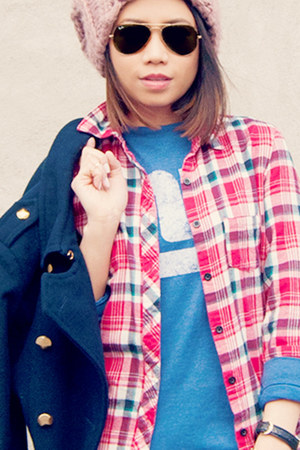red plaid button up top - navy rachel roy coat - pink beanie H&M hat