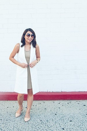white vest - beige shoes - tan dress