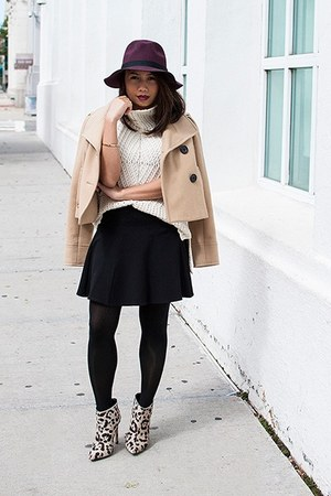 brown boots - tan jacket - eggshell sweater - black skirt