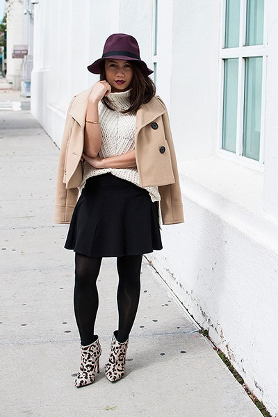 brown boots jackets eggshell sweaters black skirts