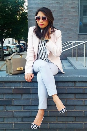 light pink blazer - silver pants - black top