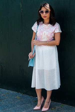 light pink shoes - sky blue bag - white perforated midi skirt - bubble gum top
