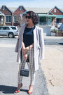 Red-christian-louboutin-shoes-silver-zara-coat-black-chanel-purse