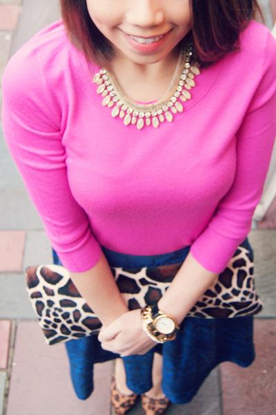 dark brown Max Studio shoes - hot pink J Crew sweater - blue WHIT skirt