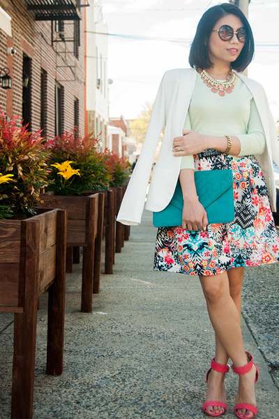 sky blue Boohoo skirt - aquamarine JCrew sweater - white Akira blazer