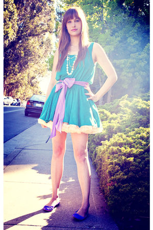 green American Apparel dress - purple American Apparel belt - beige American App