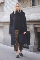 black mohair maison martin margiela coat - navy cashmere sweater