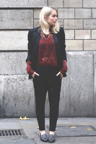 black Zara blazer - brick red burn-out Alexander Wang sweater