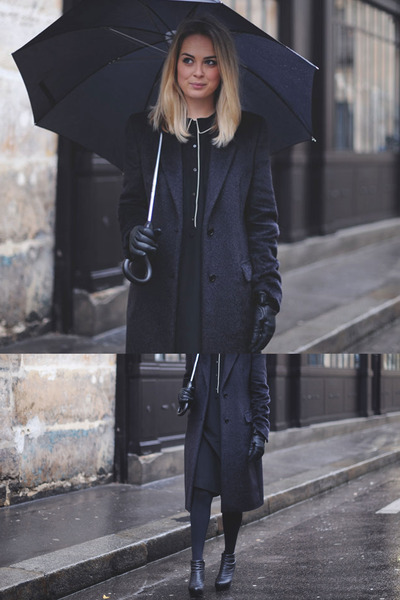 black pyjama Eres dress - black mohair maison martin margiela coat