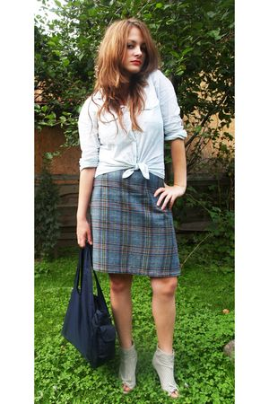 blue skirt - silver shoes - blue bag - blue shirt