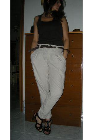 brown Bershka top - beige Stradivarius pants - brown Tally Wejil shoes