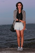 eggshell ethnic print Forever 21 jacket - light blue denim shorts Mesckla shorts
