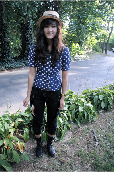blue vintage shirt - black from japan pants - black seychelles boots - beige Shi