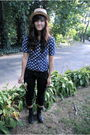 Blue-vintage-shirt-black-from-japan-pants-black-seychelles-boots-beige-shi