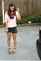American Apparel t-shirt - DIY Japanese Dollar Store shorts - Michael Kors shoes