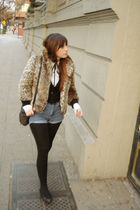 beige Fes jacket - black cardigan - white Gap blouse - blue Lee shorts - black Z