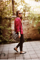 pink vintage blouse - gray H&M leggings - black Forever 21 shoes - silver Opposi