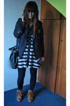 vintage jacket - Foster boots - Complot dress - tights - Foster purse