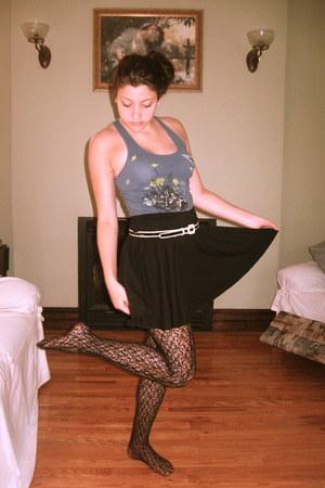 teal PacSun shirt - black Mandee tights - black skirt - beige Forever 21 belt