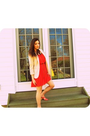 neutral H&M blazer - red dress - carrot orange sandals