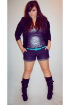 black GoJane shoes - American Eagle shorts - blue SF botique belt - silver Bebe