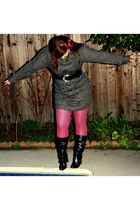 pink Target tights - gray H&M sweater - black GoJane shoes - black random from r