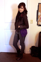 charcoal gray Forever 21 jeans - scarf - deep purple cardigan - gray jacket - wh