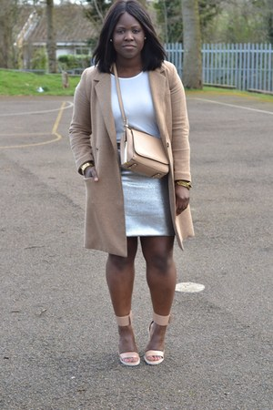 tan Zara coat - tan Zara bag - silver River Island skirt - nude asos sandals