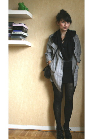 H&M jacket - aa t-shirt - H&M skirt - Cheap Monday scarf