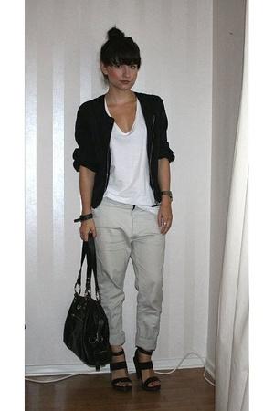 H&M jacket - JC t-shirt - Velour pants - PROENZA SCHOULER shoes
