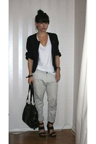 H&M jacket - JC t-shirt - Velour pants - PROENZA SCHOULER shoes