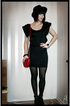 black H&M stockings - black PROENZA SCHOULER shoes - black H&M dress