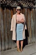 light pink coat Zara coat - light blue pencil skirt skirt