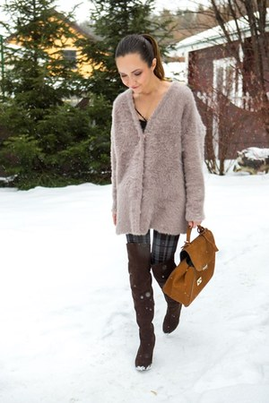 brown H&M boots - burnt orange Zara bag - tan cardigan