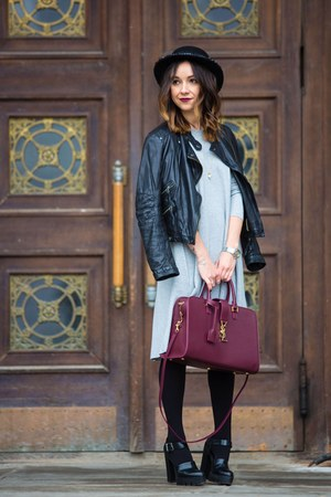 crimson bag - silver dress - black Zara jacket - black pumps