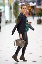 black Zara jacket - brown Mango boots - forest green H&M shirt - tan bag