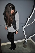 black sam edelman boots - black Leaer Look jeans - silver sweater - gray Topsop