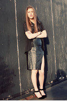 black leather H&M skirt - black sheer button-up Forever 21 blouse