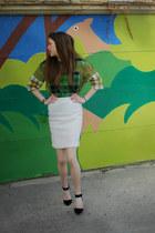 olive green plaid asos shirt - white wool pencil banana republic skirt