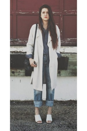 white thrifted vintage shoes - ivory H&M coat - blue American Eagle jeans