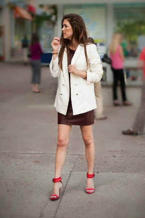 red Zara heels - crimson ann taylor dress - white Zara blazer