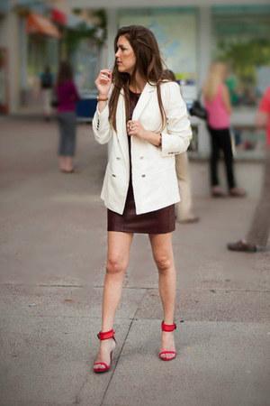 red Zara heels - crimson ann taylor dress - white Zara blazer