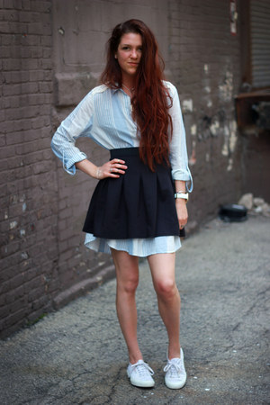 black boutique skirt - light blue shirtdress Anthropologie dress