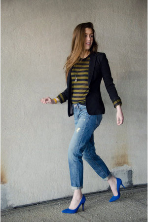 blue Nine West heels - sky blue boyfriend Gap jeans - black H&M blazer