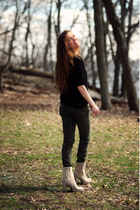 tan yeswalkercom boots - black Anthropologie shirt