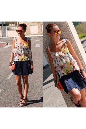 floral Zara blouse - wicker Oysho bag - linen Pull & Bear skirt - Zara wedges