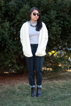 tartan H&M pants - Uniqlo top - Sheinside cardigan