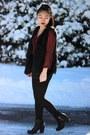 Forever-21-blouse-faux-fur-cotton-on-vest-american-apparel-pants