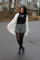 Forever 21 sweater - Zara boots - Forever 21 shorts - Uniqlo top