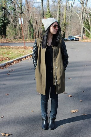 H&M coat - Aldo boots - high waisted Urban Outfitters jeans - beanie H&M hat